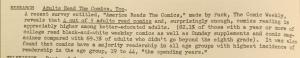 """Fig.152  - """"Adults Read the comics, too"""" - The J.W.T News. 29 août 1949, vol.IV, no.35, p.2. Source : J. Walter Thompson Company. Newsletter collection, 1910-2005. Box MN9 (1945-1950). Cette note confirme que la bande dessinée n'est pas réservée aux enfants : elle serait même avant tout une lecture d'adulte (quatre adultes sur cinq liraient fréquemment des comics)."""
