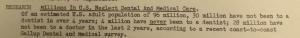 """Fig.154  - """"Research - Millions in US Neglect Dental and Medical Care"""" - The J.W.T News. 31 juillet 1950, vol.V, no.31, p.2. Source : J. Walter Thompson Company. Newsletter collection, 1910-2005. Box MN9 (1945-1950). La note mentionne explicitement le terme d'adulte et esquisse une estimation chiffrée de sa population (96 millions). C'est une tentative pour s'intéresser en propre aux adultes qui restent toutefois définis négativement - par leur négligence et le peu de cas qu'ils font de leur santé."""