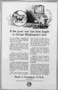 "Fig. 155 - ""f the great war has been fought in George Washington's time"". Publicité pour Swift&Co's Meat Products, non daté. Source :"