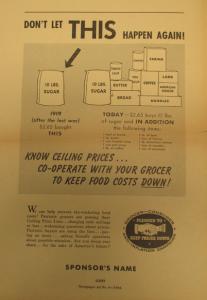 """Fig. 156 - """"Don't let THIS Happen Agin!"""" - Grocer-Consumer Anti-Inflation Campaign - Pledged to Keep Prices Down. 1944. Source : J. Walter Thompson Company. World War II Advertising Collection, 1940-1948 and undated. Box 2 (Oversize) - """"Government Policies and Agencies Campaigns, 1941-1945"""" (1/2). Cette affiche de propagande contre le marché noir plaide pour la coopération entre l'épicier et ses consommatrice afin d'éviter la hausse des prix. La confrontation diachronique avec la Première Guerre mondiale suggère une conception cyclique ou répétitive de l'histoire scandée par le retour régulier de grandes catastrophes."""
