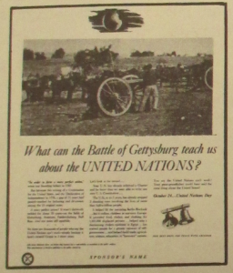 "Fig.15 - "" JWT campaign - United Nations Day (détail)"" - The J.W.T News. 16 octobre 1950, vol.V, no.42, p.3. Source : J. Walter Thompson Company. Newsletter collection, 1910-2005. Box MN9 (1945-1950)."