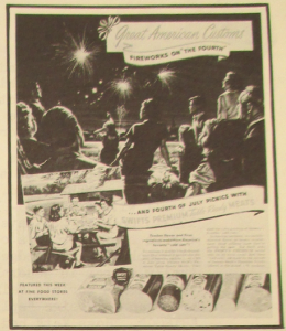 "Fig. - ""Great American Customs"" - "" JWT Campaign of the Week- Swift & Company"" (détail) - The J.W.T News. 24 juillet 1950, vol.V, no.30, p.3. Source : J. Walter Thompson Company. Newsletter collection, 1910-2005. Box MN9 (1945-1950)."