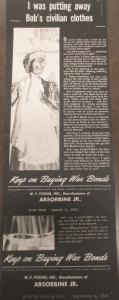 "Fig. 149 - ""I was putting away Bob's civilian clothes"". Affiche de propagande pour les war bonds sponsorisée par W.F. Young Inc, Manufacturers of Absorbine Jr.  Saturday Evening Post. 4 septembre 1943. Source : J. Walter Thompson Company. World War II Advertising collection, 1940-1948 and undated. Box 2 (Oversize) ""War Bond Advertisements, 1942-1945 and n.d"""