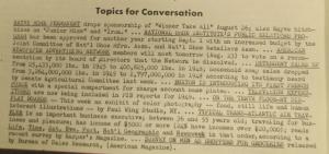 """Fig. 207 – """"Topics for Conservation - Survey on Men as Shoppers for Groceries"""". The J.W.T News. 22 août 1949, vol.IV no.34, p.2. Source : J. Walter Thompson Company. Newsletter collection, 1910-2005. Box MN9 (1945-1950). Bien que trop laconique, cette note est précieuse pour qu'elle suggère qu'en 1949 les femmes ne sont plus les seules à faire du shopping et avoir la charge d'acheter les produits à usage domestique : elles sont désormais concurrencées sur ce terrain par leurs homologues masculins."""