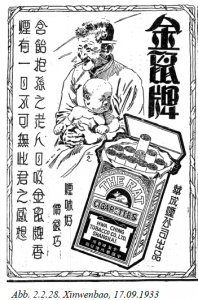"Publicité 6 - Publicité pour les cigarettes ""The Rat"", Xinwenbao, Shanghai, 17 septembre 1933. Source: Ulrike Büchsel, Lifestyles, Gender Roles and Nationalism in the Representation of Women Cigarette Advertisements from the Republican Period, Heidelberg University, 2009."
