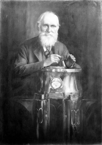 Portrait de Lord Kelvin (Sir William Thomson) [1824 - 1907], physicien-mathématicien et ingénieur écossais. Peinture à l'huile par : Harry Herman Salomon.