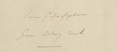 """Frontseite von Adelheid Reinbolds """"Literaturbrief"""" an Ludwig Tieck"""