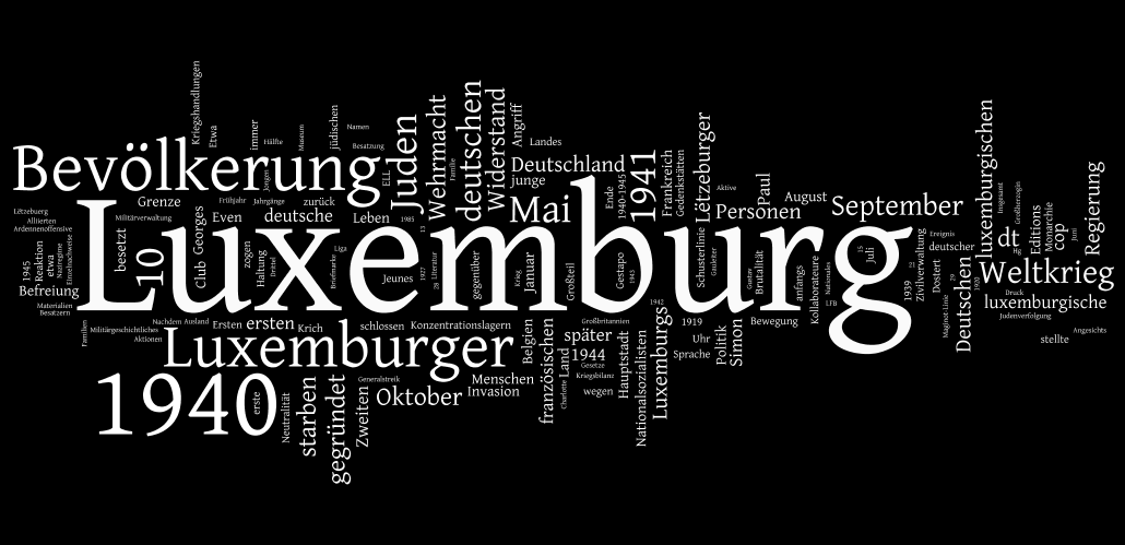 """Eine word-cloud vom Wikipedia Eintrag """"Luxemburg im Zweiten Weltkrieg"""" (30. Mai 2013) zeigt ein nüancierteres Bild als das """"Tabu-Narrativ"""""""
