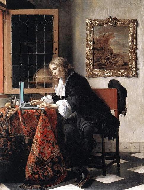 Man Blogging, after Gabriel Metsu