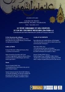 Texte coranique et son contexte. Cdf 7 décembre 2015