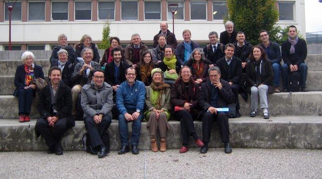 L'équipe Muséfrem devant le bâtiment de la Faculté des Lettres, Le Mans Université, 23 octobre 2015