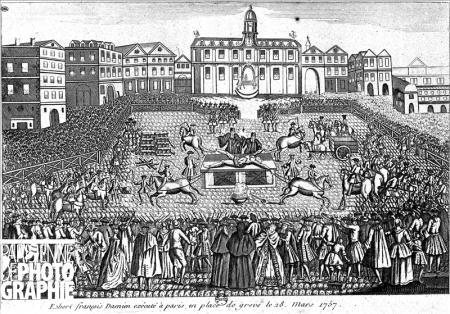 Exécution de Robert François Damiens, place de Grève, le 28 mars 1757. Gravure, B.N.F.