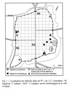 Source : M. Kasprzyck et Y. Labaune, La gestions des déchets à Augustodunum (Autun, SaôneetLoire) durant l'époque romaine : les données archéologiques, dans Ballet et al. 2003, p. 99, fig. 1