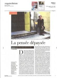 """Article : « La pensée dépaysée », Patrice Bollon, Le Magazine littéraire, Mars 2012《文学杂志》书评:""""'离乡背井'的思想"""""""