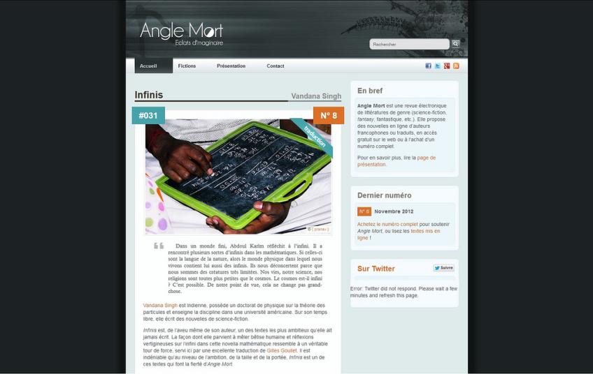 Site web d'Angle Mort : présentation des nouvelles
