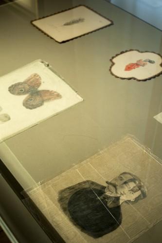 Vue de travaux des trois artistes dans une vitrine.