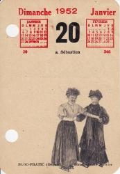Deux patineuses habillées dans le style début XXe siècle sont dessinées sur une page de calendrier datée du 20 janvier 1952