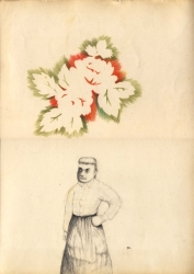 Une paysane le poing sur la hanche est dessinée en bas de la feuille au crayon, au dessus d'elle le négatif de fleurs et feuilles
