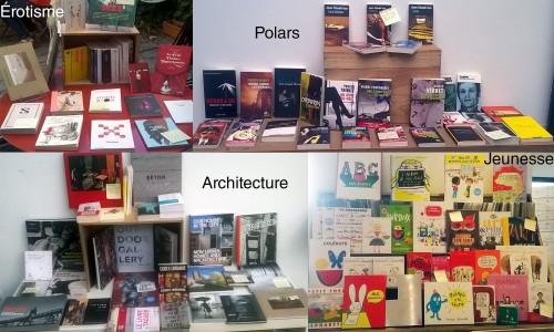 Présentation des quatre tables thématiques : érotisme, polars, architecture et jeunesse.