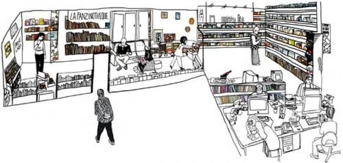Dessin représentant les contenus de la fanzinothèque : les ouvrages, des espaces lecture et un espace informatique