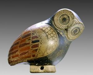 Aryballe protocorinthien en forme de chouette (vers 640 av. J.-C., musée du Louvre) ayant servi de base au label des éditions Les Belles Lettres.