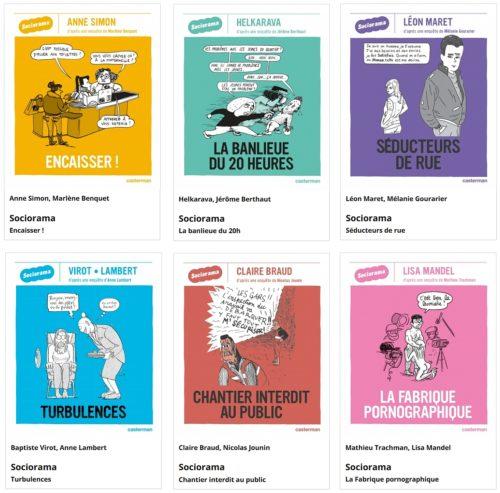 Plusieurs couvertures de la collection Sociorama, chez Casterman, 2016.