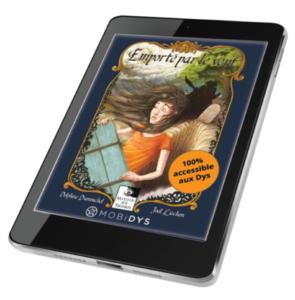 Tablette représentant le livre numérique Emporté par le vent de la maison d'édition Miroir aux troubles
