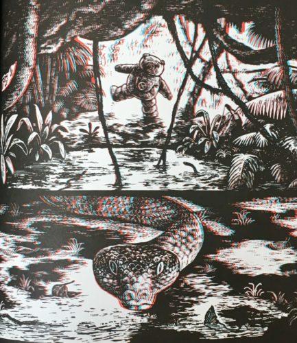 La 3D accentue le mouvement du serpent, qui semble alors en mouvement et prêt à sortir de la page et se diriger vers nous. ©2024