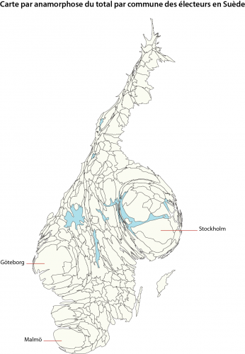 Fond de carte commune par anamorphose population