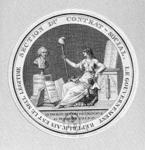 Section du contrat social : le gouvernement républicain est le seul légitime. Par A. de Saint-Aubin (BnF, N2 (Rousseau)