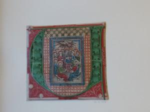 Gravure au burin coloriée dans une initiale enluminée. Vers 1450-1470, Rhin inférieur. BnF, Département des Estampes, Réserve Ea-18c (1)-Pet-Fol