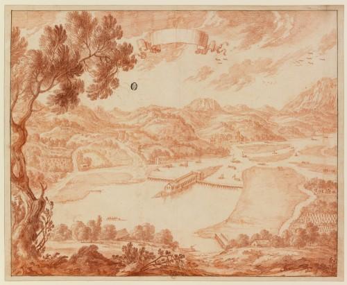 Adam Pérelle (Paris, 1640-Paris, 1695), Vue de l'île aux Faisans avec le bâtiment construit pour les échanges diplomatiques franco- espagnols, sanguine, H. 42,5 x 52,4 cm, trait d'encadrement à l'encre brune (composition : H. 41 x L. 50,3 cm), Bnf, Estampes,  Réserve B 11 a boîte format 4