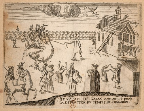 Anonyme, Les Supost de Satan [destruction du temple de Charenton], burin, 19.5 x 14.8 cm, BnF, Estampes, Qb-1 (1685) [cat. 70]