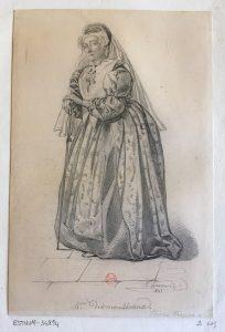Portrait de l'actrice française Françoise-Joséphine Anselme Baptiste dite Madame Desmousseaux, A. Lacauchie, 1841, Dessin à la mine de plomb ; 24,3 x 16 cm (f.)