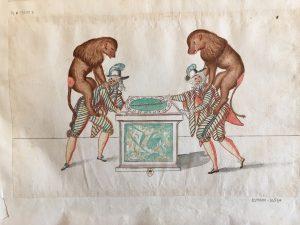 """Costumes pour la deuxième partie du ballet """"Les Fées des forêts de Saint-Germain"""", intitulée """"Ballet du Jeu"""" : Lacquais et Bertrandz jouant au tourniquet, Atelier de Daniel Rabel, 1625, plume, gouache et aquarelle ; 24,7 x 38,5 cm"""