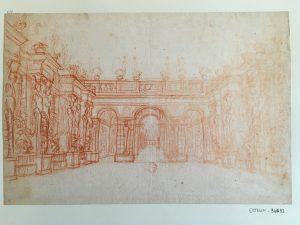 Portique ouvrant sur des jardins, pour Médée ?, Jean Berain (?), vers 1690, Dessin à la sanguine ; 22,3 x 33,3 cm (f.)