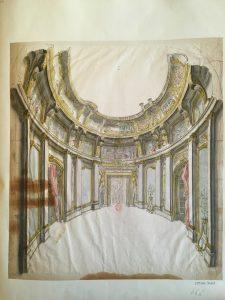 Intérieur d'un salon circulaire et son décor sur le thème d'Apollon. Anonyme, XVIIIe, Dessin à la plume et à l'aquarelle ; 40,6 x 36,6 cm (f.)