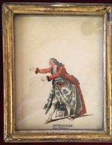 Portraits d'acteurs de la Comédie française et italienne dans leur rôle : ANTIOCHUS : dans Rodogune, Jean-Louis Fesch et Whirsker, 1770, Dessin sur vélin : gouache et encre ; 12,4 X 9,7 cm (cadre)