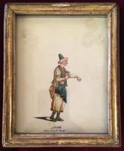 Portraits d'acteurs de la Comédie française et italienne dans leur rôle: OMAR : dans le Cadi dupé, Jean-Louis Fesch et Whirsker, 1770, Dessin sur vélin : gouache et encre ; 12,3 x 9,8 cm (cadre)