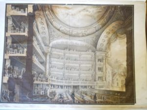 Intérieur d'une salle de spectacle du XVIIIe siècle lors de l'entracte, de Bully (?), XVIIIe siècle, Dessin à la plume et à l'aquarelle ; 60,6 x 80,3 cm (f.)