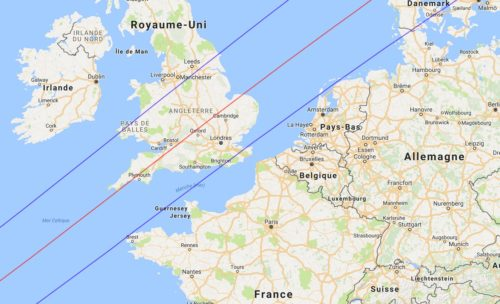 L'éclipse de 1715 (zone d'obscurité totale). Eclipse Predictions by Fred Espenak (NASA's GSFC).
