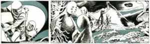 Les Navigateurs de l'infini, adapté en feuilleton-bande dessinée par Raymonde Borel-Rosny et illustré par Jacques Bressy, paru dans L'Humanité du 5 décembre 1974 au 16 mai 1975. Tous droits réservés.