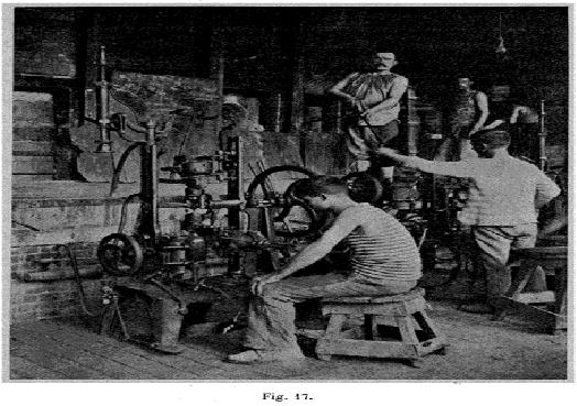 Machine à fabriquer les bouteilles, système Boucher