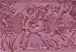 David/Heraclius qui combat le géant Goliath (détail de gravure sur assiette d'argent, VIIe siècle)
