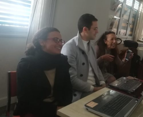 Salma Zghidi, Bechir Riahi et Houria Zorgane Abdelkefi, membres de l'équipe de l'exposition Before the 14th. IRMC, Tunis, 17 janvier 2019. Photographie : D. Cavallo