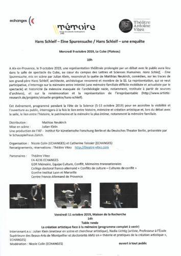 Projet Hans Schleif - Le Cube - Aix-en-Provence, 9 octobre 2019, 19 h