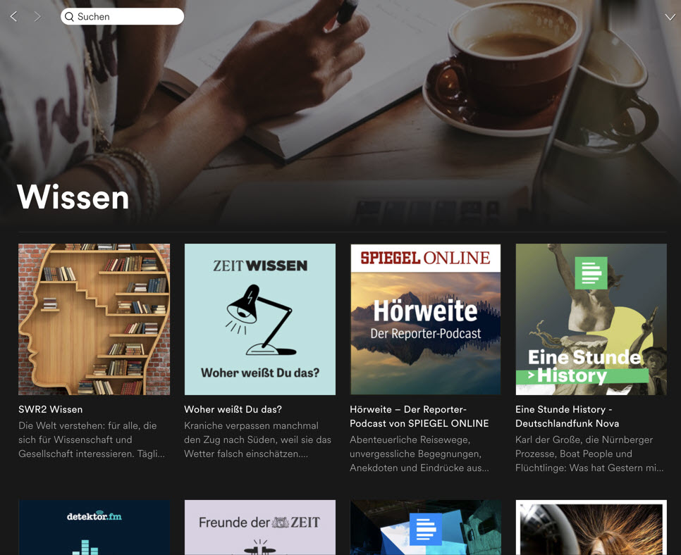 Podcasts bei Spotify
