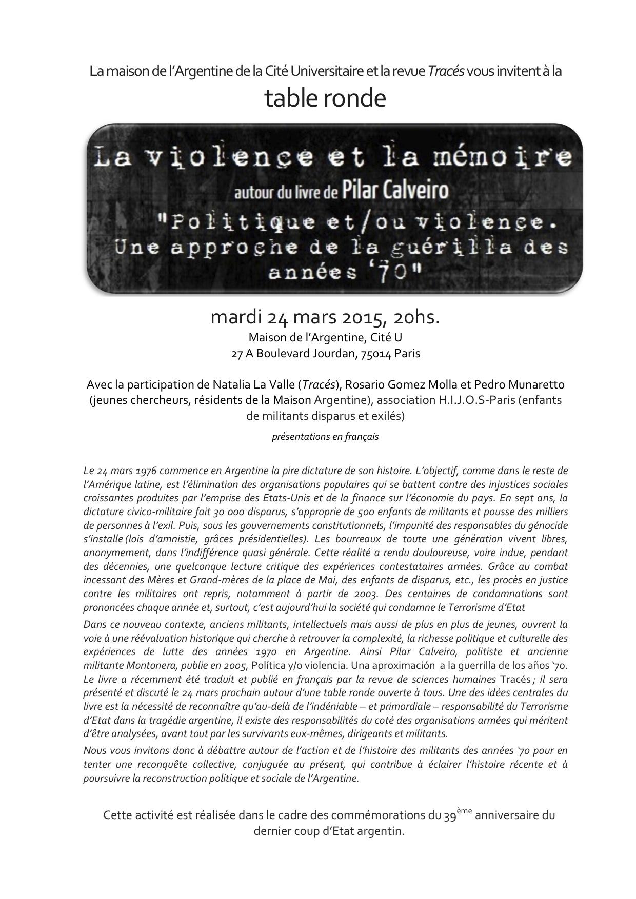 """24 mars: table-ronde """"La violence et la mémoire"""" autour de Pilar Calveiro"""