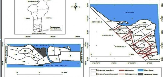 Figure 1 - Localisation des quartiers d'étude dans la ville de Cotonou