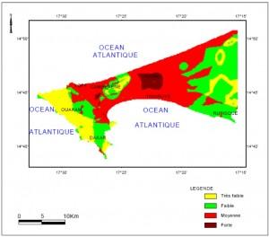 Figure 5 - Cartographie de la vulnérabilité de la nappe phréatique aux différentes pollutions